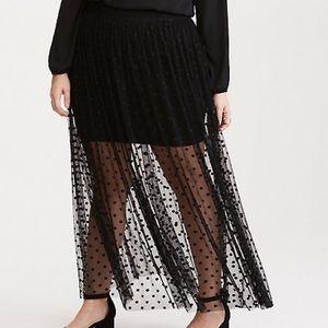 Torrid Polka Dot Mesh Maxi Skirt
